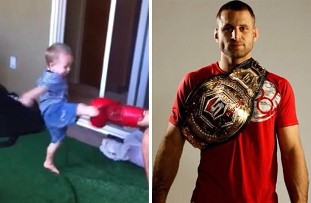 Filho de peixe, peixinho é: bebê mostra chutes e socos ao ser 'treinado' pelo pai, lutador de MMA (Foto: Reprodução/YouTube/Tarec Saffiedine e Twitter/tarecfighter)