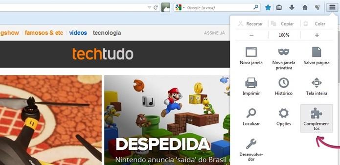 Destaque para opção Complementos do Firefox (Foto: Reprodução/Raquel Freire)