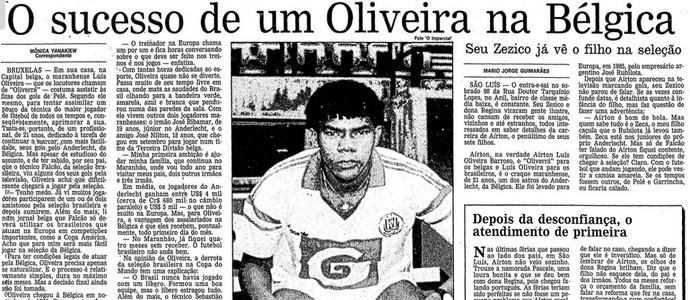 Reportagem do jornal O Globo sobre Oliveira (Foto: Reprodução / O Globo)