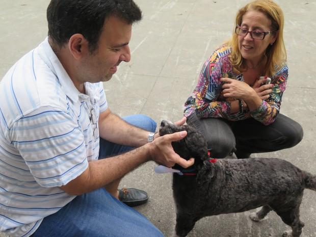 Cachorro desperta felicidade entre os funcionários  (Foto: Rafaella Mendes/G1)