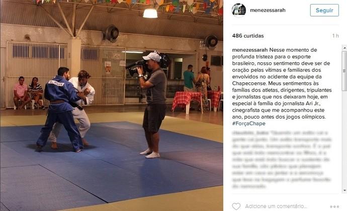 Sarah Menezes posta homenagem ao cinegrafista Ari Júnior (Foto: Reprodução/Instagram)