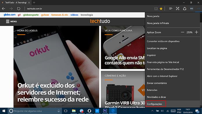 Cortana pode ser ativada no Microsoft Edge nas configurações do navegador (Foto: Reprodução/Elson de Souza)