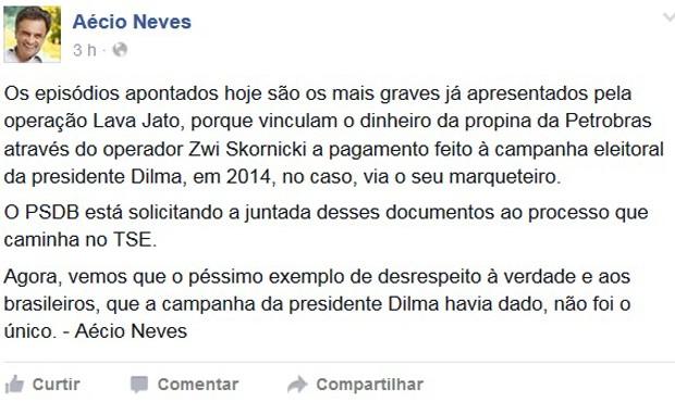 Pubilcação do senador Aécio Neves no Facebook sobre a operação Acarajé (Foto: Reprodução/Facebook)