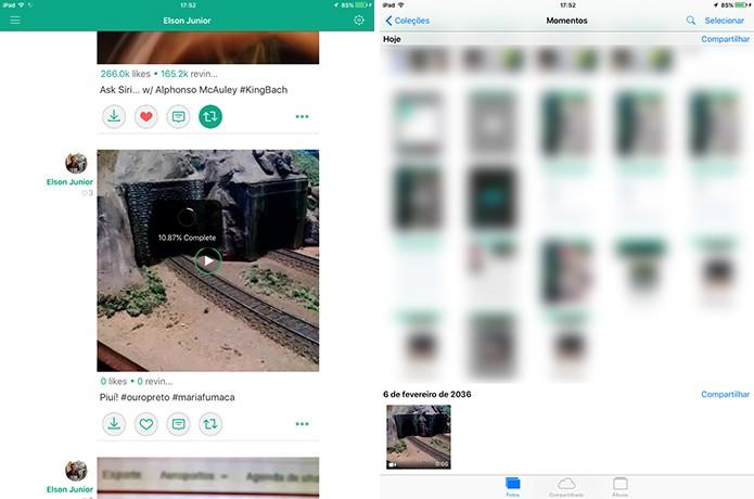 VineGrab salvará o vídeo na galeria do iOS ao fim do download (Foto: Reprodução/Elson de Souza)