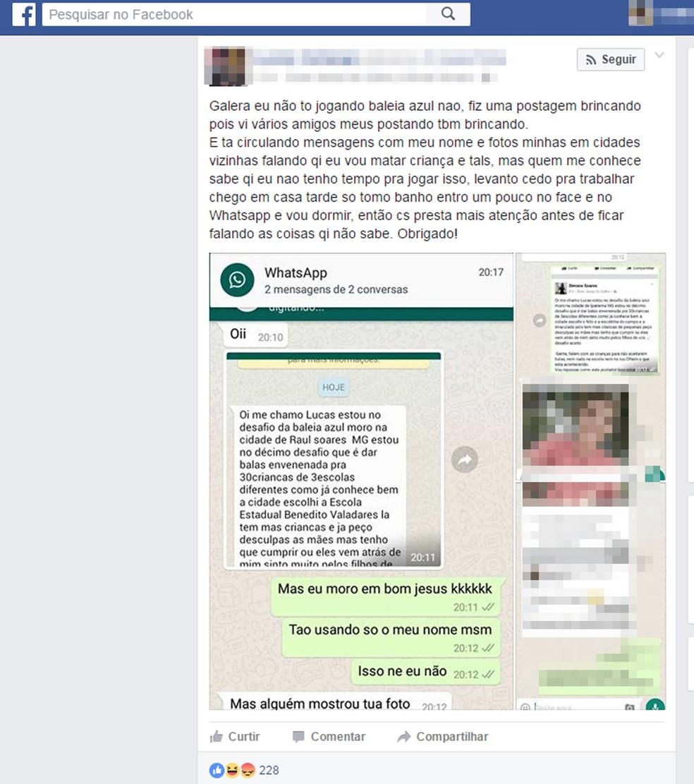 Post de jovem diz que ameaça contra criança dentro do Baleia Azul era brincadeira (Foto: Reprodução)