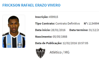 Equatoriano Erazo está regularizado junto à CBF e já pode estrear pelo Galo
