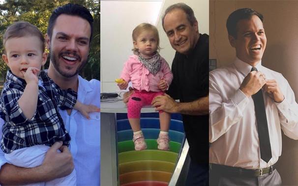 Os papais Vinicius Valverde, Carlos Abranches e Jonatan Morel (Foto: Arquivo pessoal/ Divulgação)