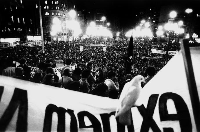 Em 1979, ato pela anistia da Praça da Sé (Foto: Jorge Araújo)