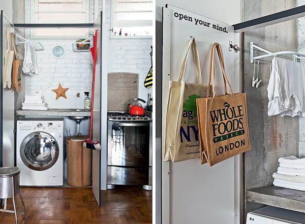 A lavanderia do apê do fotógrafo Lufe Gomes é escondida por portas de laminado. A lixeira cromada de hospital foi garimpada na feira do Bixiga. As sacolas retornáveis são de supermercados de Londres e de Nova York.  (Foto: Lufe Gomes e Victor Affaro)