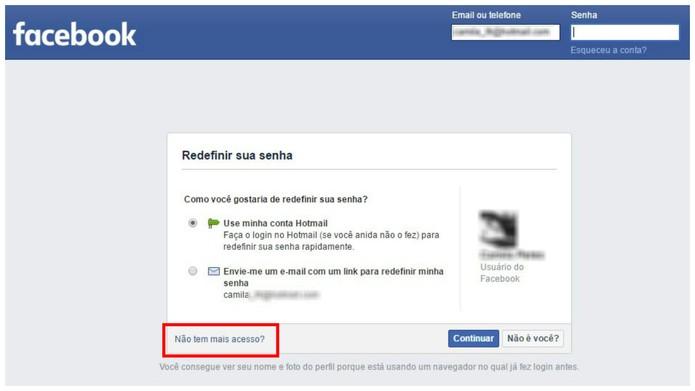 Se não aparecer o resultado, clique em não tem mais acesso? (Foto: Reprodução/Camila Peres)
