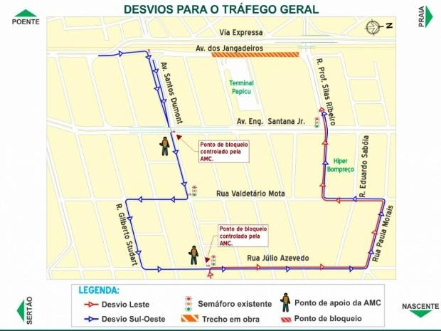 Opção de desvio na Avenida dos Jangadeiros (Foto: Prefeitura de Fortaleza/ Divulgação)