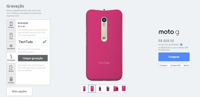 Escolha uma gravação com até 14 caracteres para a parte de trás do celular (Foto: Reprodução/Motorola)
