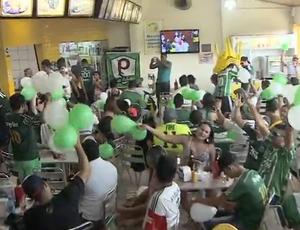 Torcida palmeirense assistindo a final do Paulista (Foto: Reprodução/ TV Rondônia)