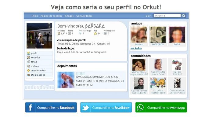 Imagem mostra perfil do Orkut com depoimentos, amigos, comunidades e mais (Foto: Reprodução/Barbara Mannara)