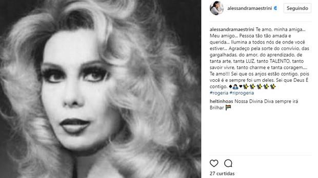 Alessandra Maestrini lamenta morte de Rogéria (Foto: Reprodução/Instagram)