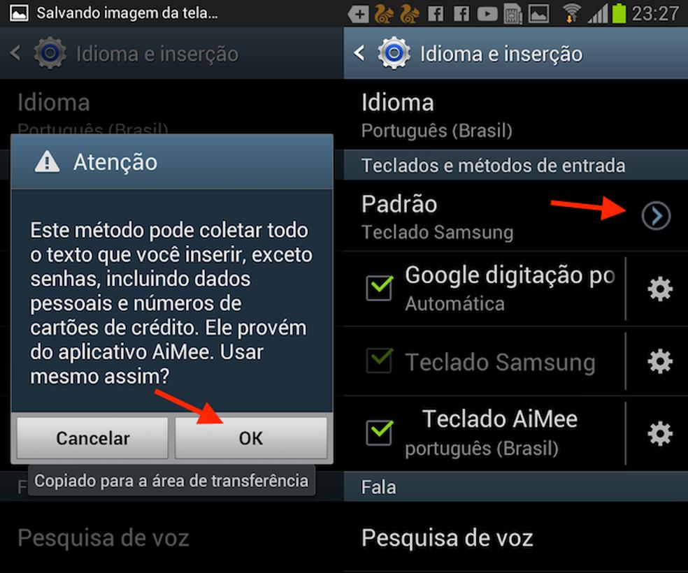 Ação para ativar o teclado AiMee no Android (Foto: Reprodução/Marvin Costa)