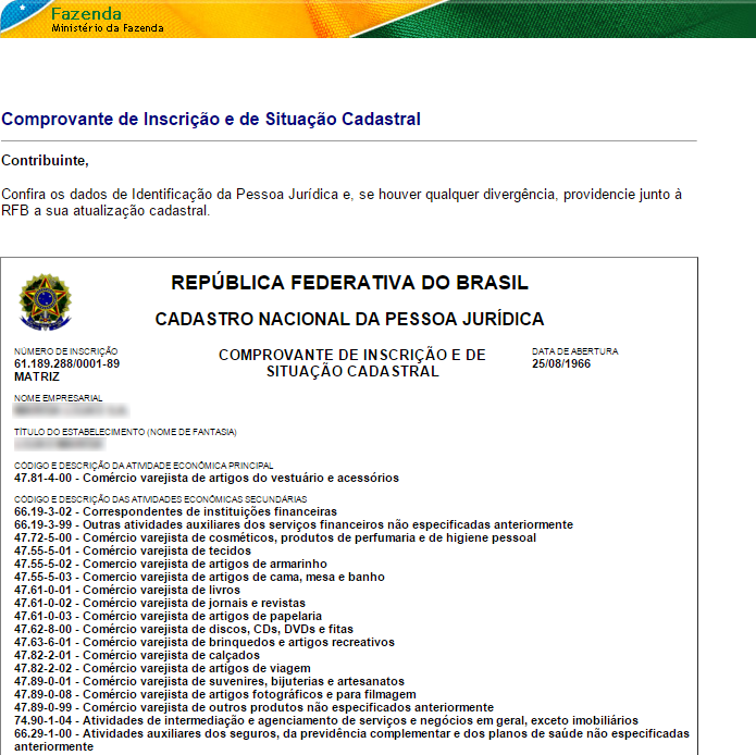 Página da Receita Federal contém informações sobre lojas (Foto: Reprodução/Receita Federal)