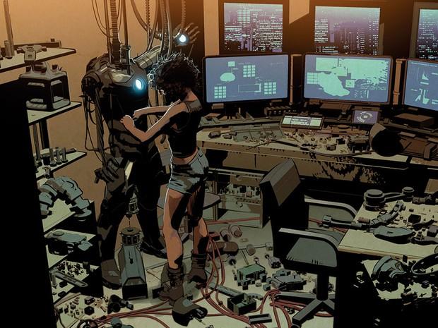 A primeira aparição de Riri Williams na sétima edição de 'The Invincible Iron Man' (Foto: Divulgação/Mike Deodato/Marvel)