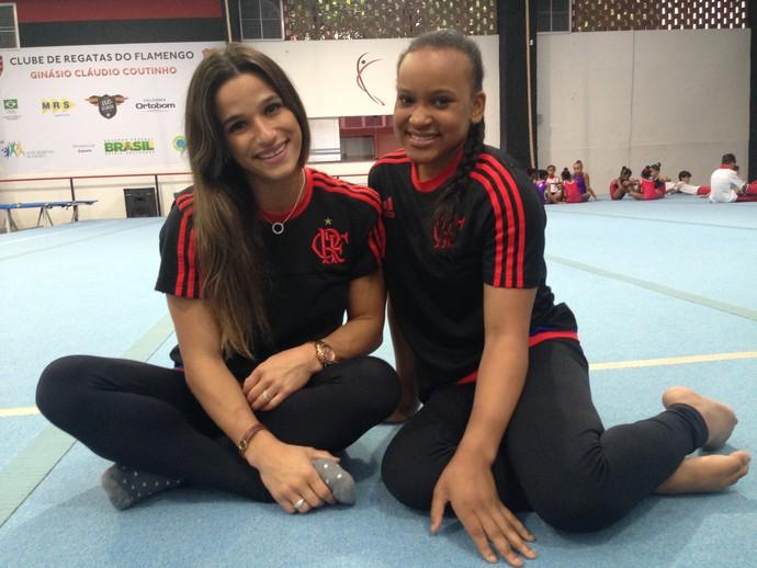 Jade e Rebeca Andrade durante reinauguração do ginásio do Flamengo (Foto: Danielle Rocha)