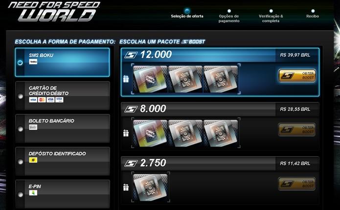 Há diversas formas de pagamento para comprar SpeedBoost no site oficial do jogo (Foto: Reprodução)