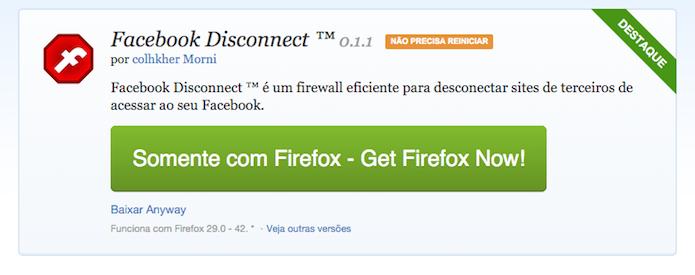 Facebook Disconnect para Mozilla Firefox (Foto: Reprodução/Marvin Costa)