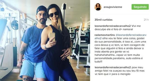 Radamés rebate fã de Viviane Araújo ao ser chamado de feio (Foto: Reprodução/Instagram)