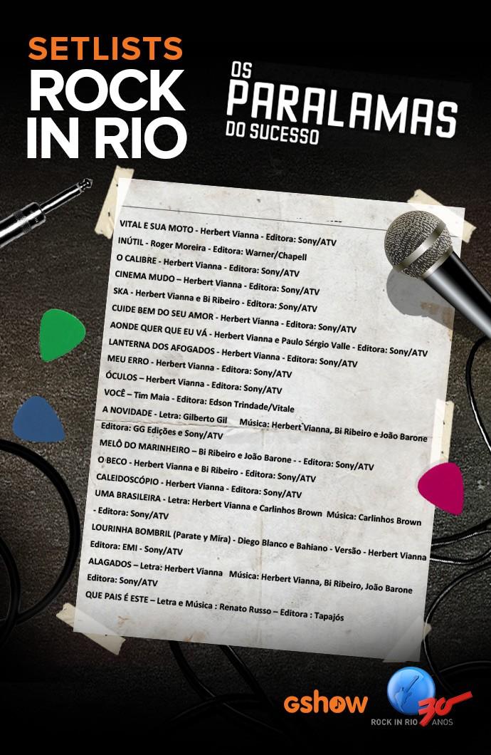 Setlist Paralamas NOVO (Foto: Gshow)