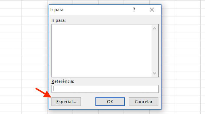 Acessando a opção especial da função ir para do Excel (Foto: Reprodução/Marvin Costa)