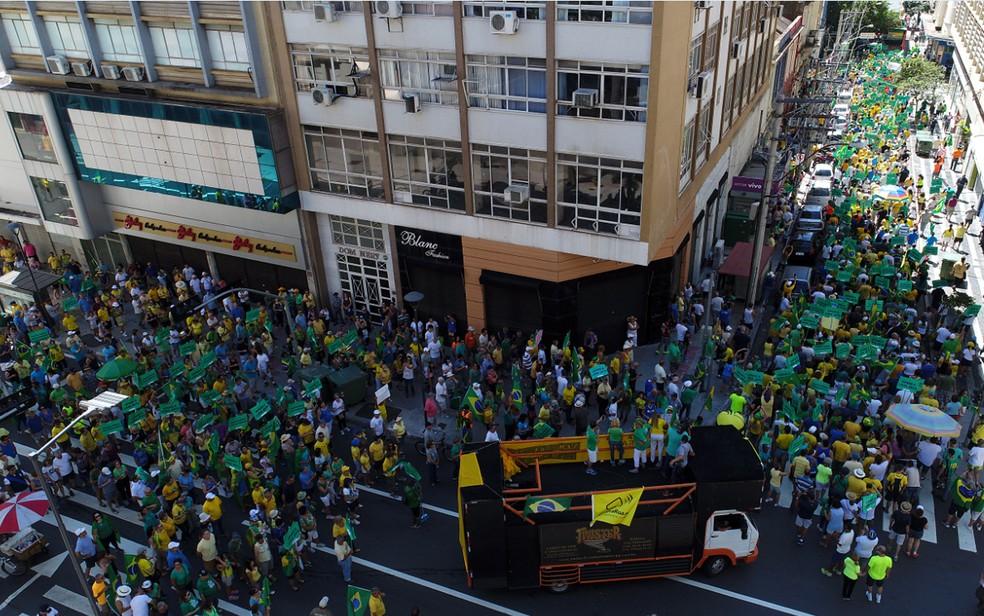 Campinas: manifestantes fazem passeata pelas ruas do centro (Foto: César Teatin Cocco/Arquivo Pessoal)