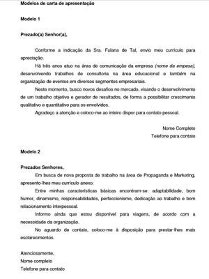 Carta de apresentação (Foto: Reprodução)