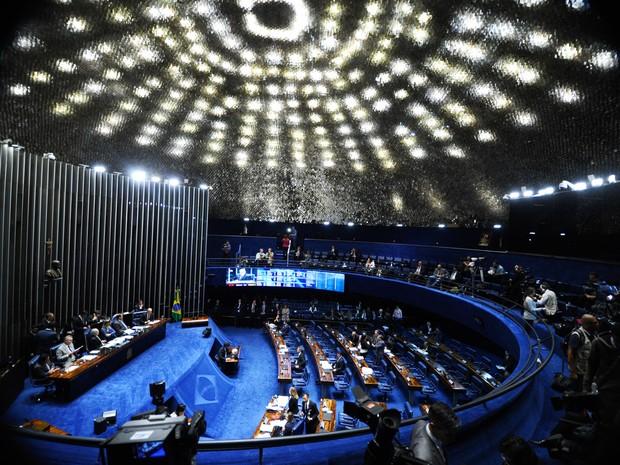 26/08 - Vista geral do plenário do Senado, em Brasília, durante o segundo dia da sessão do julgamento final do processo de impeachment da presidente afastada Dilma Rousseff (Foto: Marcos Oliveira/Agência Senado)