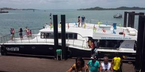 Linha de Catamarã Salvador-Madre de Deus é inaugurada e já funciona (Jéssica Smetak / TV Bahia)