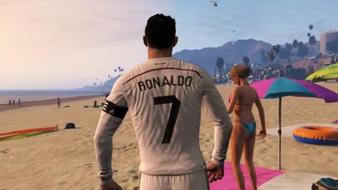 GTA 5 recebe a ilustre visita de Cristiano Ronaldo em situações divertidas e inusitadas (Foto: Reprodução/YouTube)
