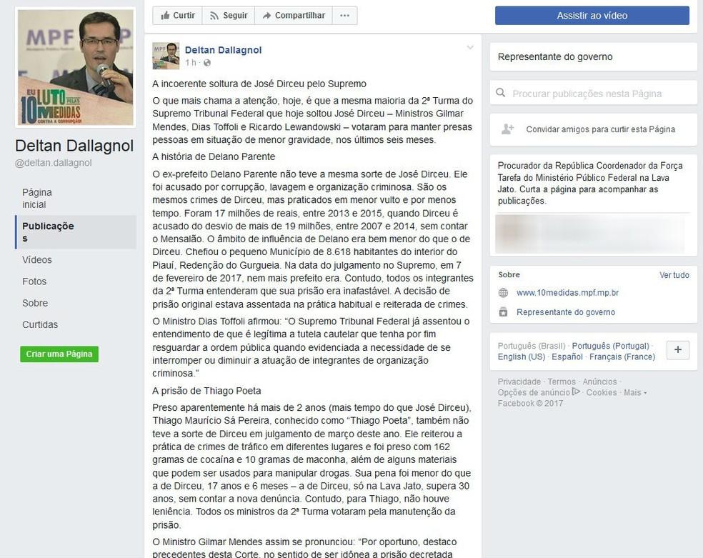 Procurador criticou a decisão da 2ª turma do STF (Foto: Reprodução/Facebook)
