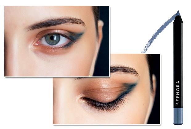No desfile de Guy Laroche, foi aplicada sombra azul esfumada nos cantos externos dos olhos. Lápis de Olhos nano, Azur Blue, Sephora, R$ 19 (Foto: Imax Tree/Divulgação)