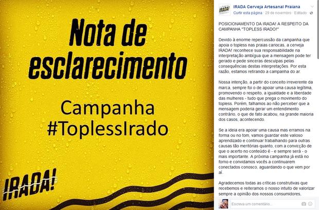 Nota de esclarecimento publicada pela cervejaria Irada (Foto: Reprodução/Facebook)