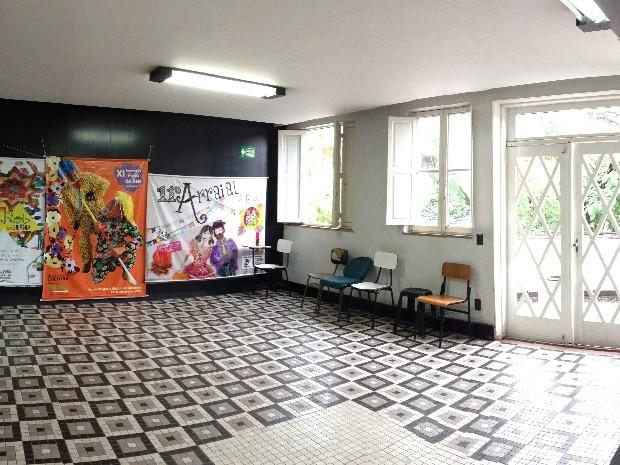 Sala no interior do Grande Hotel, em Goiânia, Goiás (Foto: Luísa Gomes/G1)