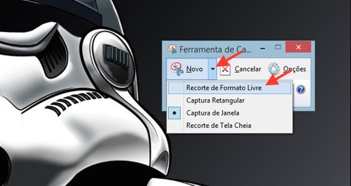 Acessando o recorte livre da Ferramenta de Captura de tela do Windows (Foto: Reprodução/Marvin Costa)