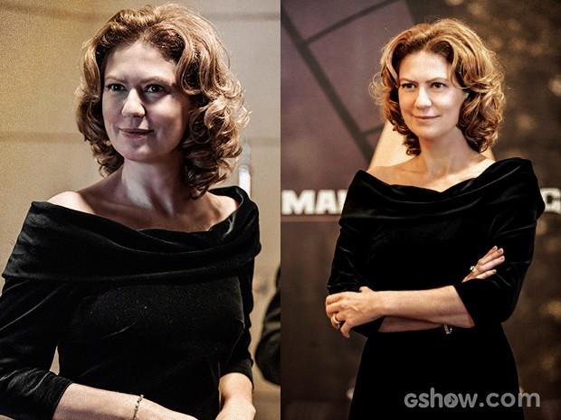 Angela Mahler deixou os cabelos soltos com cachos (Foto: O Rebu / TV Globo)