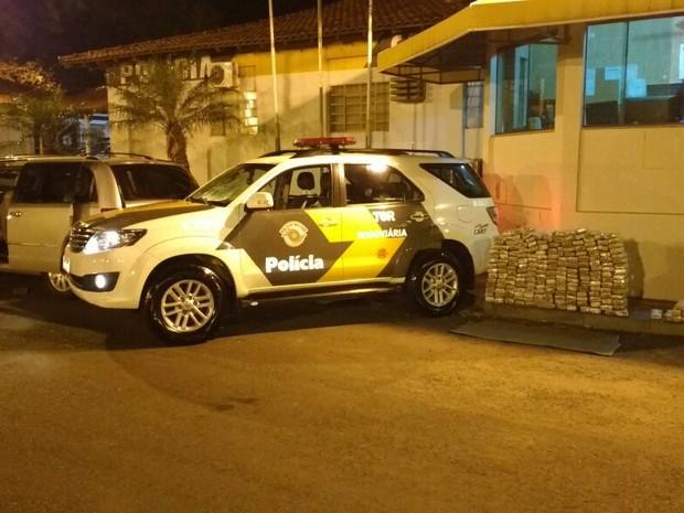 Foram apreendidos 220 tabletes de maconha (Foto: Polícia Rodoviária/Divulgação)
