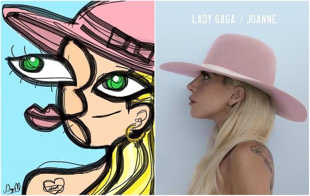 Lady Gaga em desenho feito pelo artista plástico Diego Moura e na capa do CD Joanne (Foto: Divulgação/Um Dedo de Arte)