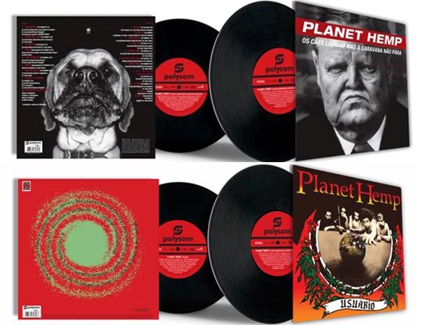 """Os dois primeiros álbuns do Planet Hemp, """"Usuário"""" (1995) e """"Os cães ladram mas a carvana não para"""" (1997), relançados em vinil (Foto: Reprodução)"""
