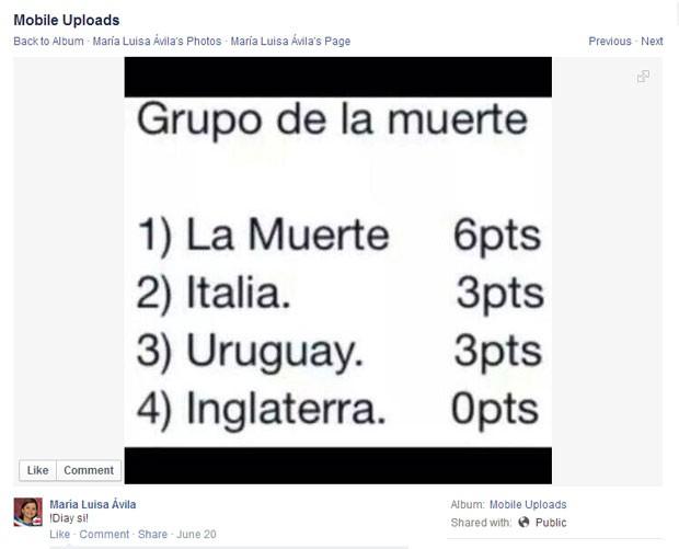 Classificação do grupo B na segunda rodada da Copa (Foto: Reprodução/Facebook)