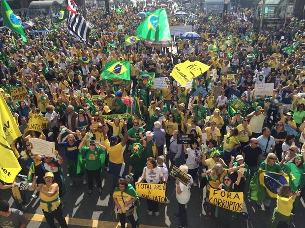 Avenida Paulista tem protesto neste domingo (Foto: Will Soares/G1)