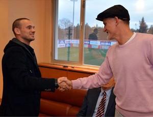 Taffarel com Sneijder (Foto: Divulgação/Site Oficial)