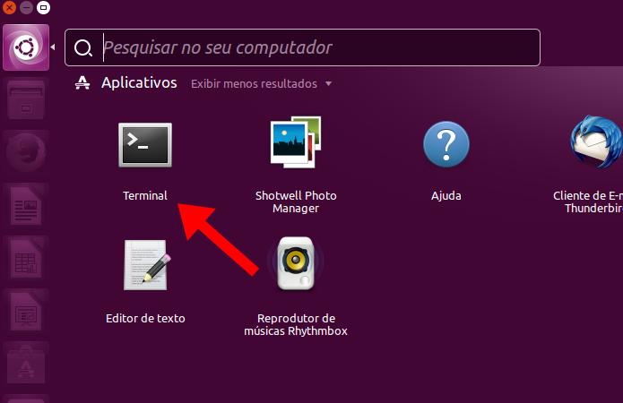 Acesse o terminal no Ubuntu (Foto: Reprodução/Paulo Alves)
