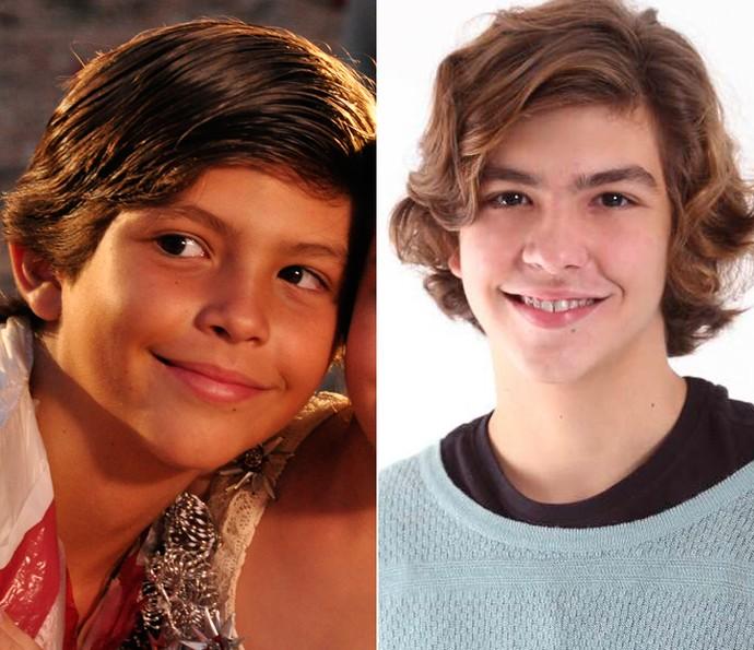Antes e depois! À esquerda, Bernardo Simões há quatro anos, como Batata de 'Avenida Brasil', e, à direita, em momento atual (Foto: Estevam Avellar / TV Globo / Marleide Morais)