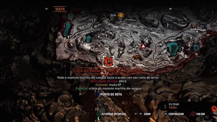Far Cry Primal: vá até o abrigo da criatura sinalizado no mapa (Foto: Reprodução/Victor Teixeira)