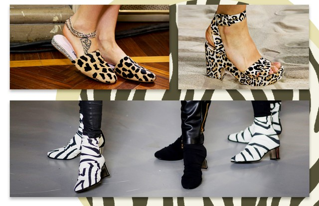 Fauna selvagem nos pés com leopardo e zebra. Em sentido horário, Giamba, Temperley London e Emilio Pucci (Foto: Antonio Barros, Getty Images e ImaxTree)