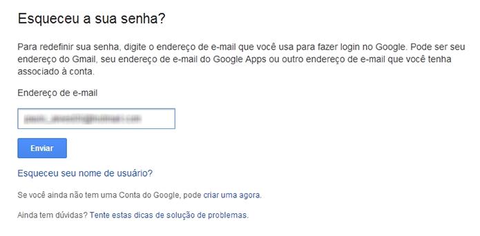 Insira o e-mail cadastrado no Orkut (Foto: Reprodução/Paulo Alves)